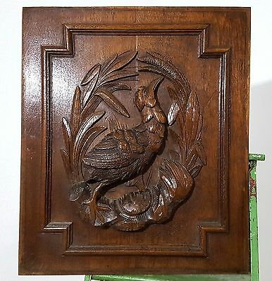HUNT HUNTING PANEL ANTIQUE FRENCH HAND CARVED WOOD SALVAGED CARVING 19 th a