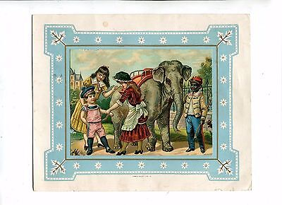 Vintage Print CHILDREN WITH ELEPHANT Rides African keeper