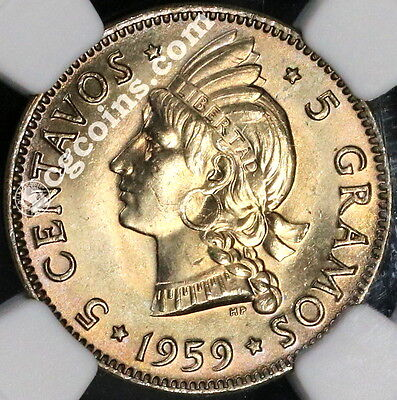 1959 NGC MS 65 Dominican Republic 5 Centavos Key Date Coin (17061304C)