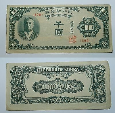 South Korea : 1000 Won Banknote 1950