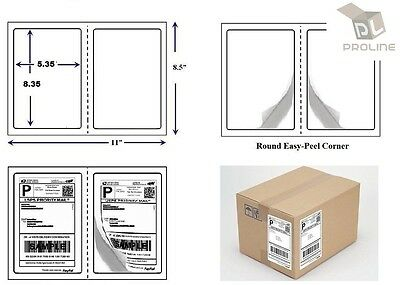 "1000 Quality Perforated Round Corner Shipping Labels 2 Per Sheet 8.5"" x 5.5"""