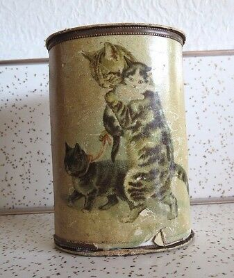 """Antique """"Cadbury's Cocoa is Absolutely Pure"""" Cardboard Canister w Cat & Kittens"""