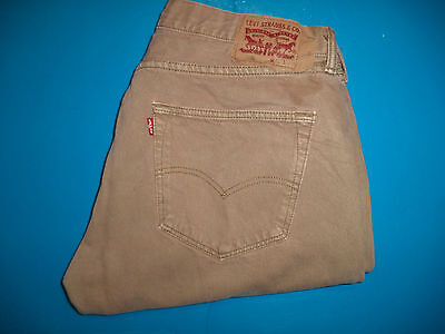 Mens Levis 501 Button Fly Tan Jeans size 36 x 30  ..#296