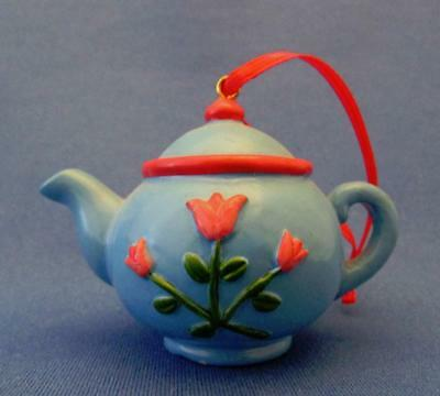 Mary Engelbreit Blue Teapot With Red Tulips Ornament