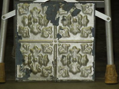 Old Antique ( Metal )  tin ceiling tile  tiles floral 12x12 orig paint
