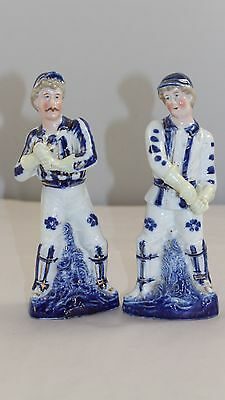 Pair 19Th Century Blue And White Delft Style Cricketers