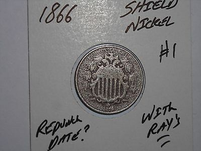 1866 Shield Nickel Semi-Key Date 5 Cent 1866-P Lot #1 With Cents & Rays