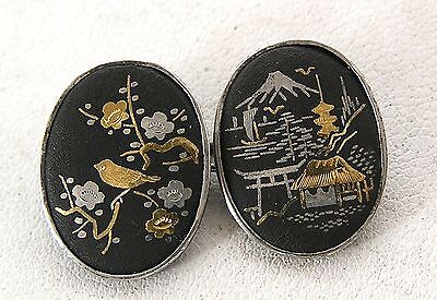 Awesome Vintage / Antique Silver Oval Disc Chain Link Cufflinks Damascene Japan