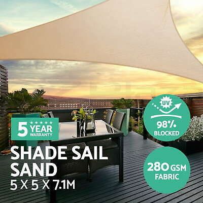 Sun Shade Sail Cloth Shadecloth Outdoor Canopy Awning Triangle 280gsm 5x5x7.1m