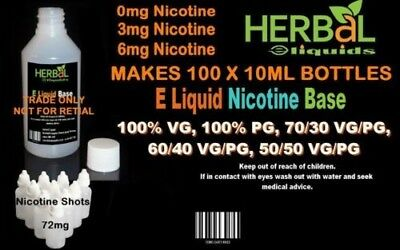 E Liquid Base Kit Makes 100 x 10ml Bottles 0mg,3mg,6mg VG/PG