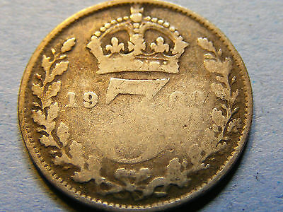 A 1908 Edward VII Silver Threepence Coin - worn condition (may be 1909)