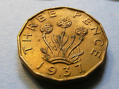 1937 George V Threepence Coin - Much Original Lustre - Good Condition
