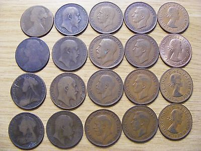 A Collection of 20 One Penny Coins - dates  1860 - 1967 -