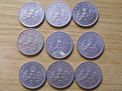 A Collection of 9 Large 5 Pence Coins - dates  1968 - 1988