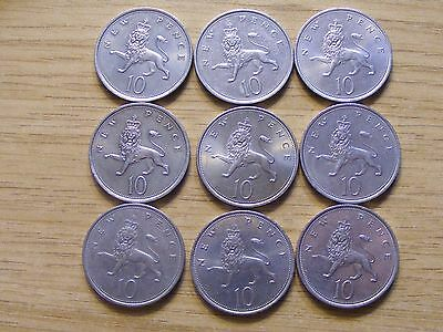 A Collection of 9 Large 10 Pence Coins - dates  1968 - 1981