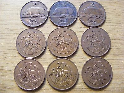 A Collection of 9 circulated Ireland Half Penny and 2 Penny Coins  1928 - 1995