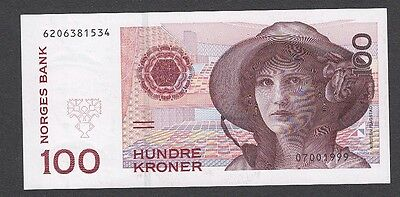 100 Kroner From Norway A1 1999 Unc