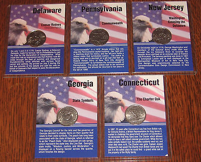 1999 P Statehood Quarter Coin & Card Set - All Five (5) Different Coins
