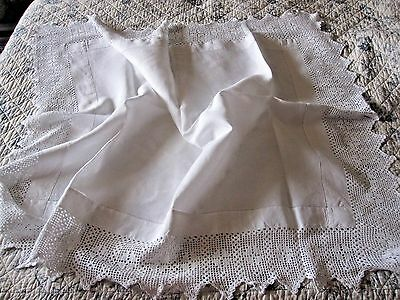 Vintage Irish Linen White Tablecloth With Deep Hand Crochet Lace
