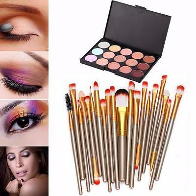 Professional 15 Colors Contour Face Cream Makeup Concealer Palette + 20 Brushes