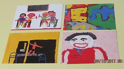 """Royal Mail Picture Cards for """"My School"""" Painting Stamps Mint VF"""