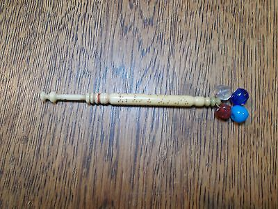 """Antique Turned And Carved  Lace Bobbin With Spangles """"eliza"""""""