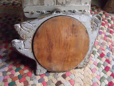 Rustic Primitive Antique Cast Iron & Wood Pig Shaped Cutting Board Shabby Silver