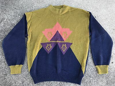 Vintage 80s Men's Gitano Sweater Geometric Abstract Cosby Ugly Large Acrylic