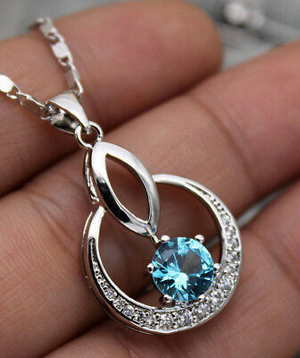 18K White Gold Filled- 7mm Blue Topaz Zircon Circle Hollow Lady Pendant Necklace