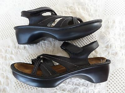"""""""naot"""" Black Leather Ankle Strap Sandals Wmn 8M (39) Very Nice"""