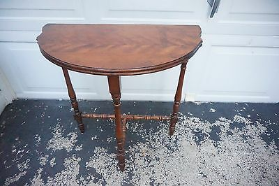 Vintage Mahogany Half Moon Accent Table  Demilune Table