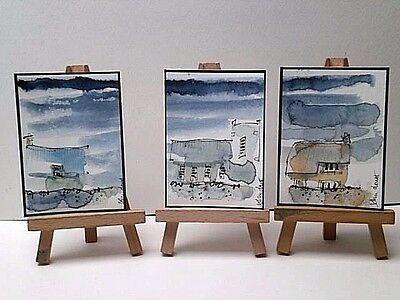 ` 3 Original Watercolour Painting ACEOs  - Hamlet On The Coast