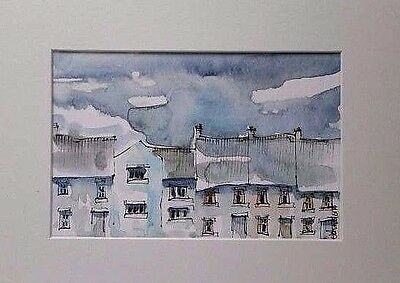 Original Watercolour Painting  - Southwold Street 5.5 in x 3.5 in. Mounted