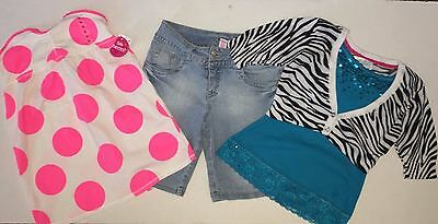 JUSTICE GIRLS SIZE 10 Long Denim Shorts 2 Shirts Outfits Polka Dot NWT Lot