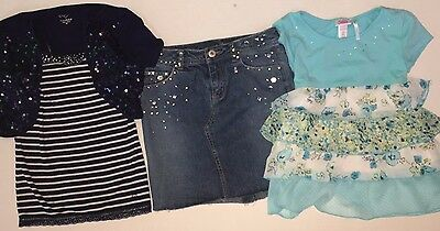 JUSTICE GIRLS SIZE 10 DENIM SKIRT SPARKLE Shrug Tank TOP Ruffled Shirt Lot