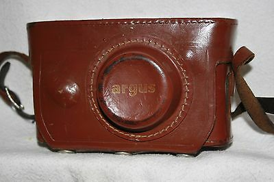 Vintage Argus Rangefinder Camera with Brown Leather Hard Case and Strap Clean