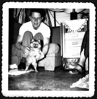 Vintage Photograph 1950 Man & Cute Pomeranian Puppy Dog Pup Pet Animal Old Photo