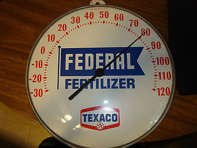 "Texaco Federal Feeds 12"" Round Thermometer GLASS dome Agricultural Petroliana"