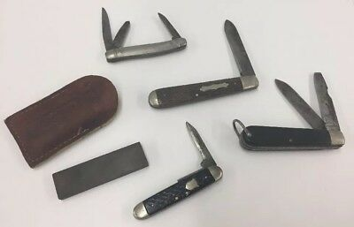 VINTAGE HAMMER COLONIAL POCKET KNIFE LOT W Sharpening Stone 4 Knives Electrician