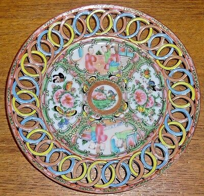 Antique Chinese Export Famille Rose Medallion Reticulated Edge Porcelain Plate