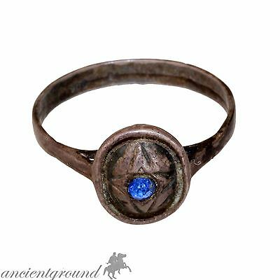 Intact , Circa 1850-1900 Ad Cypriot Silver Ring With Nice Blue Stone
