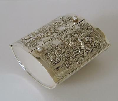 An Ornately Embossed Vintage Dutch Silverplated Table Tobacco Box