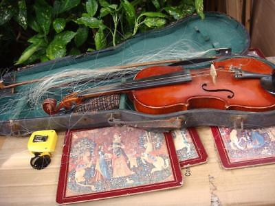Violin Coffin Case &  Bow for restoration or Spare /   Repair