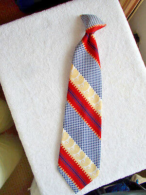JC Penney Towncraft Snapper Man's Tie Geometric Print Red Yellow Blue