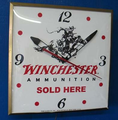 Vintage Pam Lighted WINCHESTER AMMUNITION SOLD HERE  Advertizing Clock
