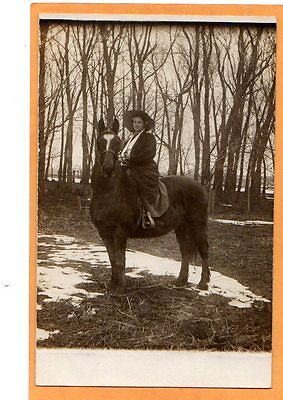 Real Photo Postcard RPPC - Woman on Beautiful Horse
