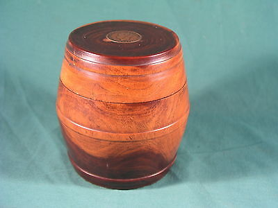 Antique Mahogany Turned Wood Barrel Shaped Tea Caddy with George VI Coin Inset