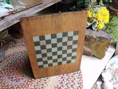 Primitive Folk Art Painted Checkerboard on Antique Wood Crate Lid Spilter Signed