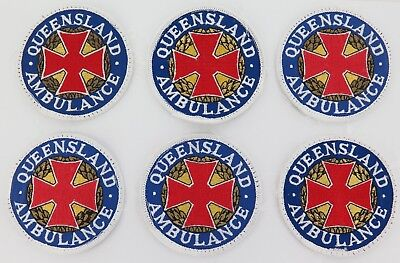 6 Obsolete Qld Ambulance Patches. All Have White Borders Instead Of Blue. 7.4Cms