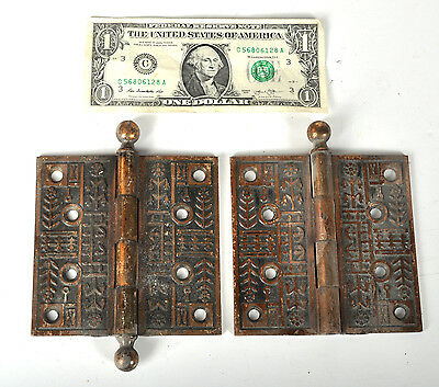 TWO Antique Brass-Color Victorian Ornate Floral Door Hinges 4-1/2 Corn Wheat